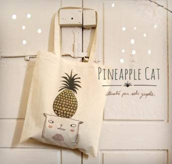 Tote bag Pineapple cat